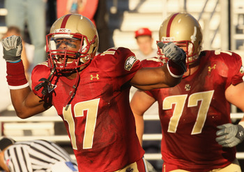 CHESTNUT HILL, MA - SEPTEMBER 11:  Clyde Lee #17 of the Boston College Eagles celebrates his touchdown as teammate Emmett Cleary #77 stands by in the second half against the Kent State Golden Flashes on September 11, 2010 at Alumni Stadium in Chestnut Hil