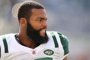 EAST RUTHERFORD, NJ - SEPTEMBER 19:  Braylon Edwards #17 of the New York Jets looks on during warmups prior to the game against the New England Patriots on September 19, 2010 at the New Meadowlands Stadium  in East Rutherford, New Jersey.  (Photo by Al Be