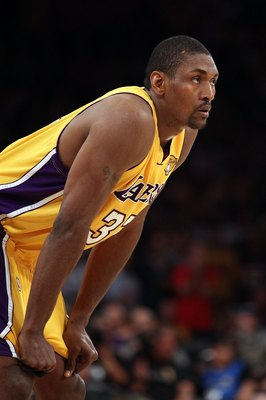LOS ANGELES, CA - JUNE 17:  Ron Artest #37 of the Los Angeles Lakers look on in Game Seven of the 2010 NBA Finals against the Boston Celtics at Staples Center on June 17, 2010 in Los Angeles, California.  NOTE TO USER: User expressly acknowledges and agre