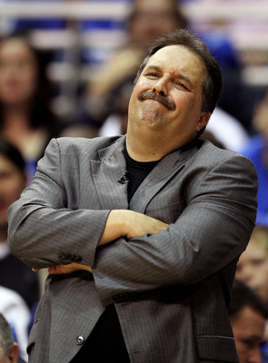 ORLANDO, FL - APRIL 18:  Head coach Stan Van Gundy of the Orlando Magic watches his team take on the Charlotte Bobcats in Game One of the Eastern Conference Quarterfinals during the 2010 NBA Playoffs at Amway Arena on April 18, 2010 in Orlando, Florida. T