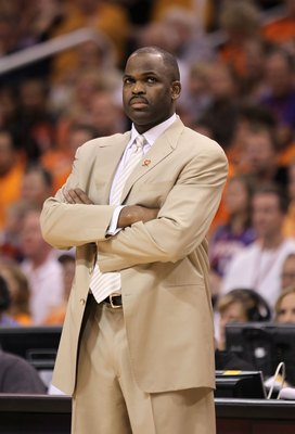 PHOENIX - APRIL 26:  Head coach Nate McMillan of the Portland Trail Blazers coaches during Game Five of the Western Conference Quarterfinals of the 2010 NBA Playoffs against the Phoenix Suns at US Airways Center on April 26, 2010 in Phoenix, Arizona.  The