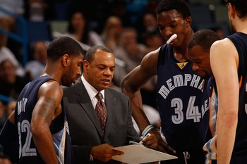 NEW ORLEANS - JANUARY 20:  Head coach Lionel Hollins of the Memphis Grizzlies talks with his players during a timeout against the New Orleans Hornets at the New Orleans Arena on January 20, 2010 in New Orleans, Louisiana.  The Hornets defeated the Grizzli
