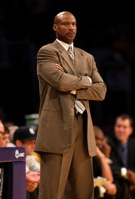 LOS ANGELES - NOVEMBER 8:  Head coach Byron Scott of the New Orleans Hornets looks on during the game with the Los Angeles Lakers on November 8, 2009 at Staples Center in Los Angeles, California. The Lakers won 104-88.  NOTE TO USER: User expressly acknow