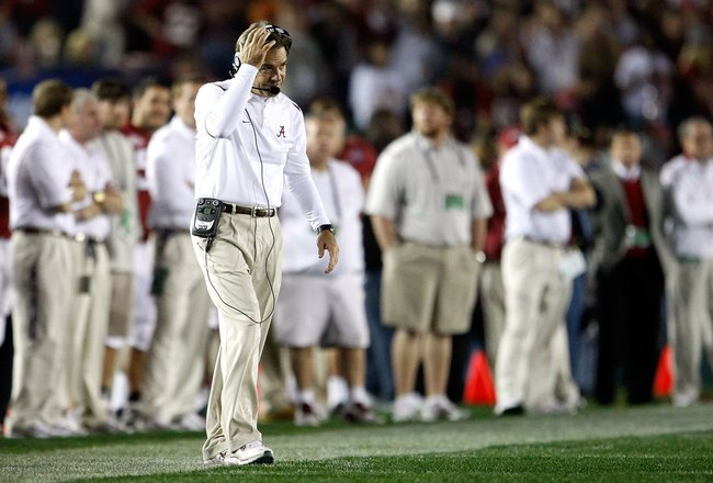 PASADENA, CA - JANUARY 07:  Head Coach Nick Saban of the Alabama Crimson Tide reacts during the Citi BCS National Championship game against the Texas Longhorns at the Rose Bowl on January 7, 2010 in Pasadena, California.  (Photo by Jeff Gross/Getty Images
