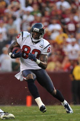 LANDOVER - SEPTEMBER 19:  Andre Johnson #80 of the Houston Texans runs the ball against the Washington Redskins at FedExField on September 19, 2010 in Landover, Maryland. The Texans defeated the Redskins in overtime 30-27. (Photo by Larry French/Getty Ima
