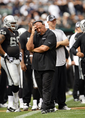 OAKLAND, CA - SEPTEMBER 19:  Head coach Tom Cable of the Oakland Raiders walks the sidelines during their game against the St. Louis Rams at the Oakland-Alameda County Coliseum on September 19, 2010 in Oakland, California.  (Photo by Ezra Shaw/Getty Image