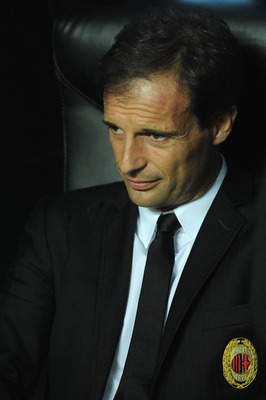 MILAN, ITALY - SEPTEMBER 18:  AC Milan head coach Massimiliano Allegri sits on the bench during the Serie A match between AC Milan and Catania Calcio at Stadio Giuseppe Meazza on September 18, 2010 in Milan, Italy.  (Photo by Valerio Pennicino/Getty Image