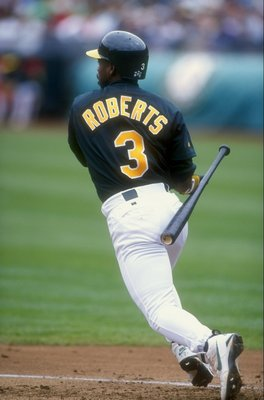 30 Jun 1998:  Bip Roberts #3 of the Oakland Athletics drops his bat behind him during the interleague game against the San Diego Padres at Oakland Coliseum in Oakland, California. The A''s defeated teh Padres 12-10