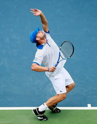 CINCINNATI - AUGUST 21:  Andy Roddick during the semifinals on Day 6 of the Western & Southern Financial Group Masters at the Lindner Family Tennis Center on August 21, 2010 in Cincinnati, Ohio.  (Photo by Kevin C. Cox/Getty Images)