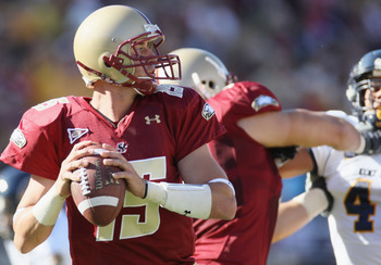 CHESTNUT HILL, MA - SEPTEMBER 11: Dave Shinskie #15 of the Boston College Eagles looks to pass in the first half against the Kent State Golden Flashes on September 11, 2010 at Alumni Stadium in Chestnut Hill, Massachusetts.  (Photo by Elsa/Getty Images)