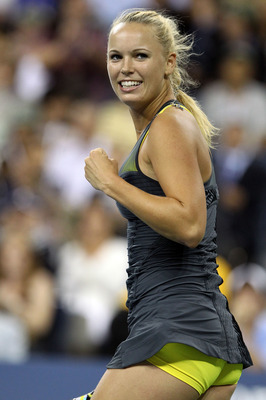 NEW YORK - SEPTEMBER 08:  Caroline Wozniacki of Denmark celebrates after defeating Dominika Cibulkova of Slovakia during her women's single quarterfinal match during day ten of the 2010 U.S. Open at the USTA Billie Jean King National Tennis Center on Sept
