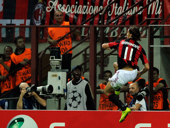 MILAN, ITALY - SEPTEMBER 15:  Celebrates of Zlatan Ibrahimovic of AC Milan celebrates after the first goal during the UEFA Champions League group G match between AC Milan and Auxerre at San Siro Stadium on September 15, 2010 in Milan, Italy.  (Photo by Cl