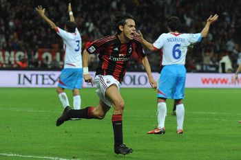 MILAN, ITALY - SEPTEMBER 18:  Filippo Inzaghi of AC Milan celebrates his goal during the Serie A match between AC Milan and Catania Calcio at Stadio Giuseppe Meazza on September 18, 2010 in Milan, Italy.  (Photo by Valerio Pennicino/Getty Images)