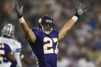 MINNEAPOLIS - SEPTEMBER 12:  Brian Russell of the Minnesota Vikings celebrates against the Dallas Cowboys on September 12, 2004 at the Hubert H. Humphrey Metrodome in Minneapolis, Minnesota.  The Vikings defeated the Cowboys 35-17.  (Photo by Jeff Gross/G