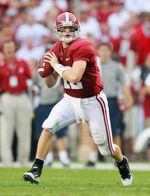 TUSCALOOSA, AL - SEPTEMBER 11:  Quarterback Greg McElroy #12 of the Alabama Crimson Tide of looks to pass against the Penn State Nittany Lions at Bryant-Denny Stadium on September 11, 2010 in Tuscaloosa, Alabama.  (Photo by Kevin C. Cox/Getty Images)