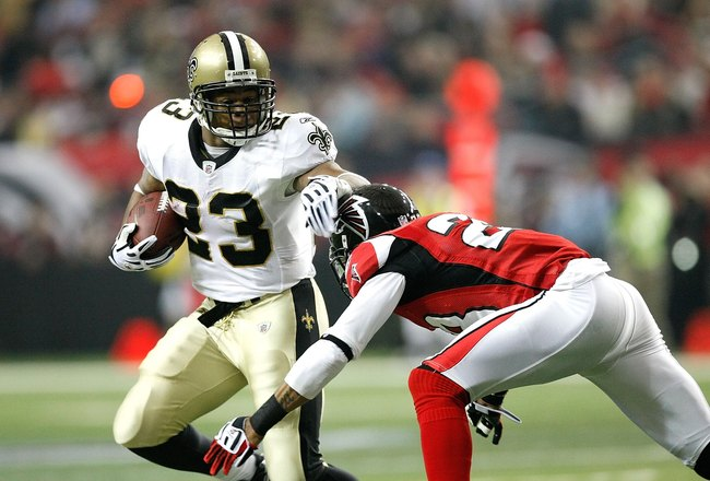 ATLANTA - DECEMBER 13:  Pierre Thomas #23 of the New Orleans Saints against the Atlanta Falcons at Georgia Dome on December 13, 2009 in Atlanta, Georgia.  (Photo by Kevin C. Cox/Getty Images)