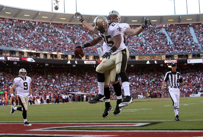 SAN FRANCISCO - SEPTEMBER 20:  Reggie Bush #25 and David Thomas #85 of the New Orleans Saints celebrate after Rush scored a touchdown against the San Francisco 49ers at Candlestick Park on September 20, 2010 in San Francisco, California.  (Photo by Ezra S