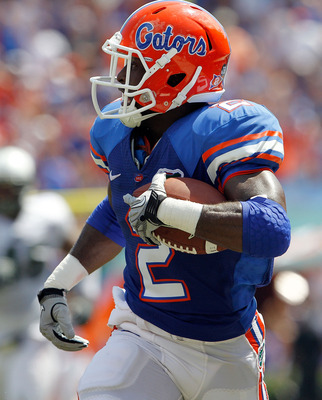 GAINESVILLE, FL - SEPTEMBER 11:  Jeffery Demps #2 of the Florida Gators runs for yardage against the South Florida Bulls during a game at Ben Hill Griffin Stadium on September 11, 2010 in Gainesville, Florida.  (Photo by Sam Greenwood/Getty Images)