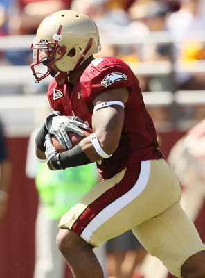 CHESTNUT HILL, MA - SEPTEMBER 04:  Montel Harris #2 of the Boston College Eagles carries the ball in the first quarter against the Weber State Wildcats on September 4, 2010 at Alumni Stadium in Chestnut Hill, Massachusetts.  (Photo by Elsa/Getty Images)