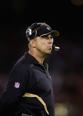 SAN FRANCISCO - SEPTEMBER 20:  Head coach Sean Payton of the New Orleans Saints watches his team play against the San Francisco 49ers at Candlestick Park on September 20, 2010 in San Francisco, California.  (Photo by Ezra Shaw/Getty Images)