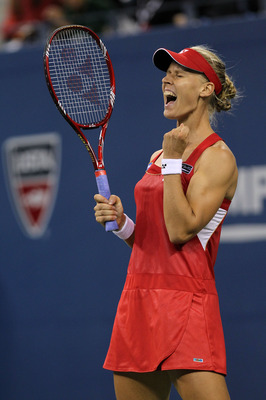 NEW YORK - SEPTEMBER 05:  Elena Dementieva of Russia reacts against Samantha Stosur of Australia during her women's singles match on day seven of the 2010 U.S. Open at the USTA Billie Jean King National Tennis Center on September 5, 2010 in the Flushing n