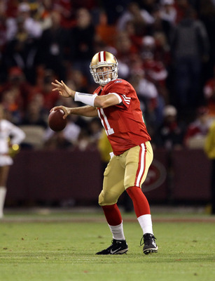 SAN FRANCISCO - SEPTEMBER 20:  Alex Smith #11 of the San Francisco 49ers in action during their game against the New Orleans Saints at Candlestick Park on September 20, 2010 in San Francisco, California.  (Photo by Ezra Shaw/Getty Images)
