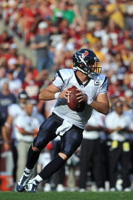 LANDOVER, MD - SEPTEMBER 19:  Matt Schaub #8 of the Houston Texans passes during the game against the Washington Redskins at FedExField on September 19, 2010 in Landover, Maryland. The Texans defeated the Redskins in overtime 30-27. (Photo by Larry French