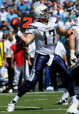SAN DIEGO - SEPTEMBER 19:  Quarterback Philip Rivers #17 of the San Diego Chargers throws a pass against the Jacksonville Jaguars at Qualcomm Stadium on September 19, 2010 in San Diego, California. The Chargers won 38-13.  (Photo by Stephen Dunn/Getty Ima
