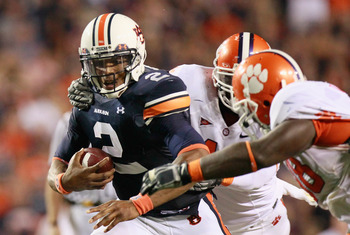 AUBURN, AL - SEPTEMBER 18:  Quarterback Cameron Newton #2 of the Auburn Tigers rushes upfield in overtime against the Clemson Tigers at Jordan-Hare Stadium on September 18, 2010 in Auburn, Alabama.  (Photo by Kevin C. Cox/Getty Images)