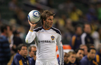 CARSON, CA - SEPTEMBER 11:  David Beckham #23 of the Los Angeles Galaxy looks to throw the ball into play during their MLS match against the Columbus Crew at The Home Depot Center on September 11, 2010 in Carson, California. The Galaxy defeated Crew 3-1.