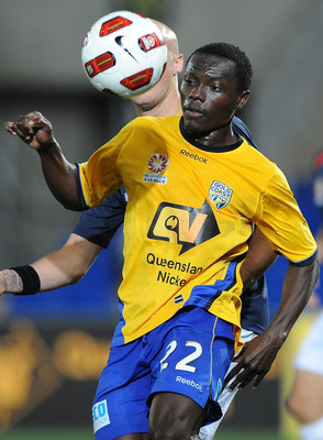 GOLD COAST, AUSTRALIA - SEPTEMBER 22:  Adama Traore of the Gold Coast attempts to control the ball from a pass during the round seven A-League match between Gold Coast United and the Newcastle Jets at Skilled Park on September 22, 2010 in Gold Coast, Aust