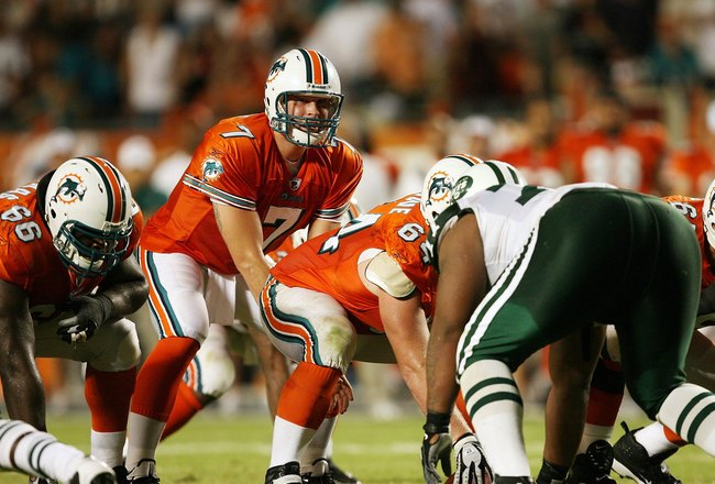 MIAMI - OCTOBER 12:  Quarterback Chad Henne #7 of the Miami Dolphins call out the snap count while taking on the New York Jets at Land Shark Stadium on October 12, 2009 in Miami, Florida. The Dolphins defeated the Jets 31-27.  (Photo by Doug Benc/Getty Im