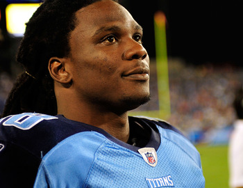 NASHVILLE, TN - AUGUST 23:  Chris Johnson #28 of the Tennessee Titans watches from the sidelines during the second half of a preseason game against the Arizona Cardinals at LP Field on August 23, 2010 in Nashville, Tennessee. Tennessee defeated Arizona, 2