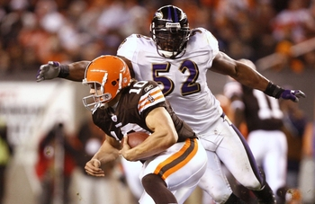 CLEVELAND - NOVEMBER 16: Quarterback Brady Quinn #10 of the Cleveland Browns is sacked by Ray Lewis #52 of the Baltimore Ravens in the third quarter at Cleveland Browns Stadium on November 16, 2009 in Cleveland, Ohio.  (Photo by Matt Sullivan/Getty Images
