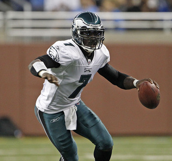 DETROIT - SEPTEMBER 19:  Michael Vick #7 of the Philadelphia Eagles scrambles for a first down during the game against the Detroit Lions at Ford Field on September 19, 2010 in Detroit, Michigan. The Eagles defeated the Lions 35-32.  (Photo by Leon Halip/G