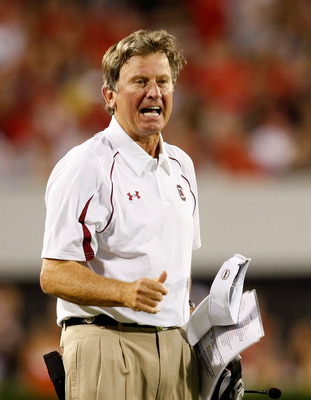 ATHENS, GA - SEPTEMBER 12:  Head coach Steve Spurrier of the South Carolina Gamecocks questions a call during the game against the Georgia Bulldogs at Sanford Stadium on September 12, 2009 in Athens, Georgia.  (Photo by Kevin C. Cox/Getty Images)