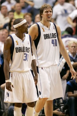 DALLAS - JUNE 20:  Jason Terry #31 and Dirk Nowitzki #41 of the Dallas Mavericks react to a foul in the final seconds of the fourth quarter against the Miami Heat in game six of the 2006 NBA Finals on June 20, 2006 at American Airlines Center in Dallas, T