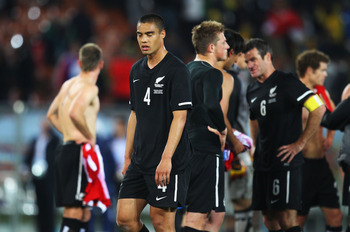 POLOKWANE, SOUTH AFRICA - JUNE 24:  Dejected Winston Reid of New Zealand after a goalless draw and elimination in the 2010 FIFA World Cup South Africa Group F match between Paraguay and New Zealand at Peter Mokaba Stadium on June 24, 2010 in Polokwane, So