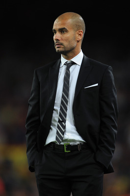 BARCELONA, SPAIN - SEPTEMBER 14:  Head coach Josep Guardiola of Barcelona watches on during the UEFA Champions League group D match between Barcelona and Panathinaikos on September 14, 2010 in Barcelona, Spain. Barcelona won the match 5-1.  (Photo by Jasp
