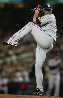 NEW YORK - SEPTEMBER 21:  James Shields #33 of the Tampa Bay Rays pitches against the New York Yankees on September 21, 2010 at Yankee Stadium in the Bronx borough of New York City.  (Photo by Andrew Burton/Getty Images)