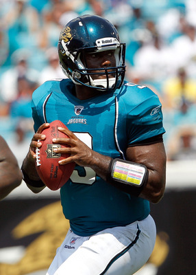 JACKSONVILLE, FL - SEPTEMBER 12:  Quarterback David Garrard #9 of the Jacksonville Jaguars attempts a pass during the NFL season opener game against the Denver Broncos at EverBank Field on September 12, 2010 in Jacksonville, Florida.  (Photo by Sam Greenw