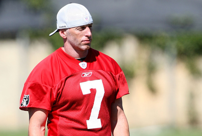 NAPA, CA - AUGUST 05: Jeff Garcia #7 looks on during the Oakland Raiders Training Camp at the Napa Valley Marriott on August 5, 2009 in Napa, California.  (Photo by Jed Jacobsohn/Getty Images)
