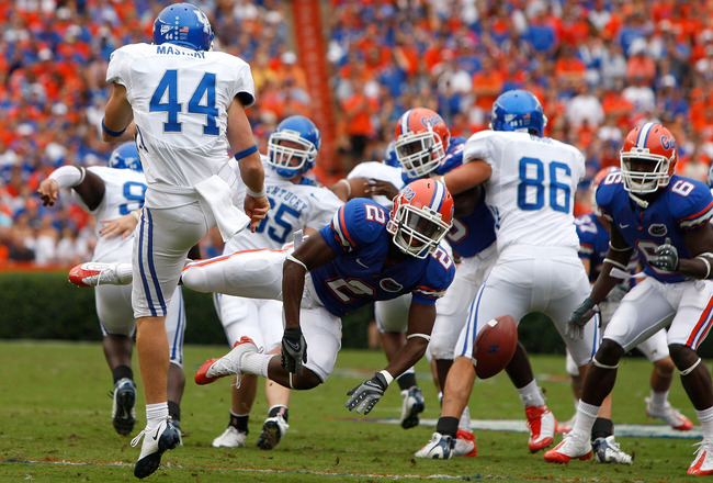 GAINESVILLE, FL - OCTOBER 25:  Jeffery Demps #2 of the Florida Gators blocks the punt of Tim Masthay #44 of the Kentucky Wildcats at Ben Hill Griffin Stadium on October 25, 2008 in Gainesville, Florida.  (Photo by Sam Greenwood/Getty Images)