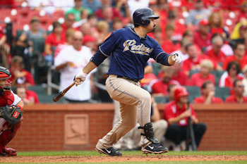 ST. LOUIS - SEPTEMBER 19: Adrian Gonzalez #23 of the San Diego Padres hits an RBI single against the St. Louis Cardinals at Busch Stadium on September 19, 2010 in St. Louis, Missouri.  The Cardinals beat the Padres 4-1.  (Photo by Dilip Vishwanat/Getty Im