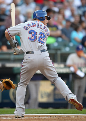 SEATTLE - AUGUST 03:  Josh Hamilton #32 of the Texas Rangers bats against the Seattle Mariners at Safeco Field on August 3, 2010 in Seattle, Washington. (Photo by Otto Greule Jr/Getty Images)