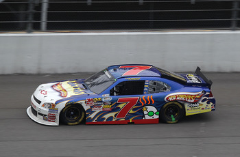 BROOKLYN, MI - AUGUST 14:  Danica Patrick, driver of the #7 Hot Whgeels/GoDaddy.com Chevrolet, drives during the NASCAR Nationwide Series CARFAX 250 at Michigan International Speedway on August 14, 2010 in Brooklyn, Michigan.  (Photo by Jonathan Daniel/Ge