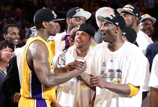 LOS ANGELES, CA - JUNE 17:  Ron Artest #37, Jordan Farmar #1 and Kobe Bryant #24 of the Los Angeles Lakers celebrate after the Lakers defeated the Boston Celtics in Game Seven of the 2010 NBA Finals at Staples Center on June 17, 2010 in Los Angeles, Calif