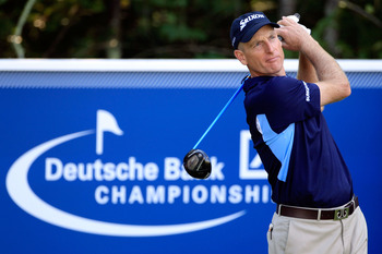 NORTON, MA - SEPTEMBER 04:  Jim Furyk hits a shot on the 15th tee during the second round of the Deutsche Bank Championship at TPC Boston on September 4, 2010 in Norton, Massachusetts.  (Photo by Michael Cohen/Getty Images)
