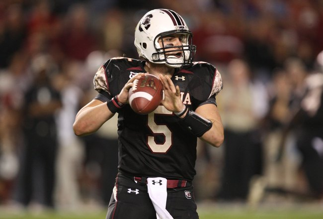 COLUMBIA, SC - NOVEMBER 14:  Stephen Garcia #5 of the South Carolina Gamecocks drops back to pass during the game against the Florida Gators at Williams-Brice Stadium on November 14, 2009 in Columbia, South Carolina. (Photo by Streeter Lecka/Getty Images)