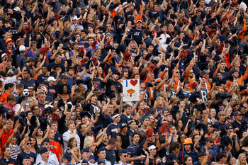 AUBURN, AL - SEPTEMBER 18:  Fans of the Auburn Tigers cheer during the game against the Clemson Tigers at Jordan-Hare Stadium on September 18, 2010 in Auburn, Alabama.  (Photo by Kevin C. Cox/Getty Images)